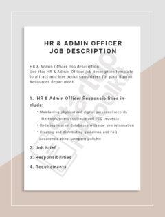 Admin Officer Job description