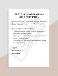 Director of Operations job description