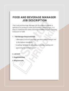 Food and Beverage Manager Job description