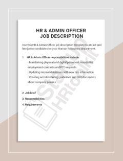 HR _ Admin Officer Job description