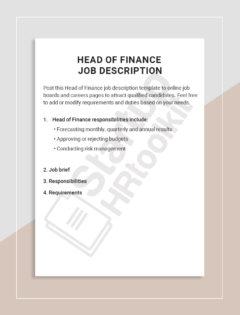 Head of Finance job description