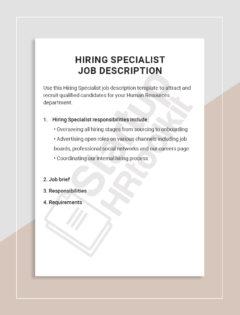 Hiring Specialist job description