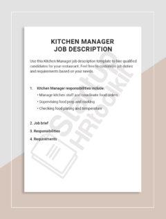 Kitchen Manager Job description