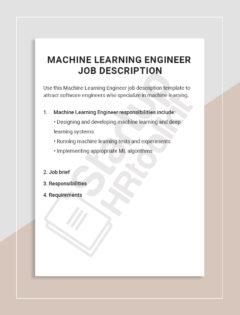 Machine Learning Engineer job description