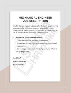 Mechanical Engineer job description