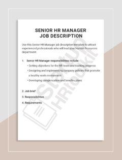 Senior HR Manager Job description