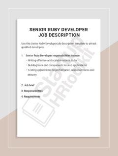 Senior Ruby Developer job description