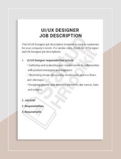 UI-UX Designer job description